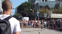 Kid Tries To Knock Over Vancouver Busker. He Makes Him Regret