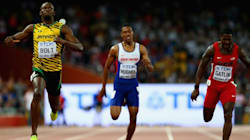 Cameraman On Segway Trips Usain Bolt After 200m