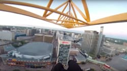 Winnipeg Daredevil Dangles From A Crane High Above The
