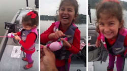 Big Bass Is No Match For This Girl And Her Barbie Fishing