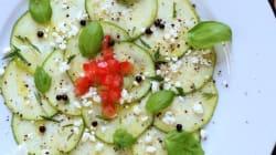Carpaccio de zucchini, feta, menthe et basilic signé Max