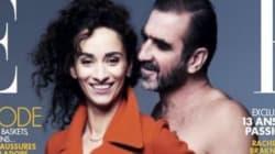 Éric Cantona (nu) et sa femme (habillée) en couverture de