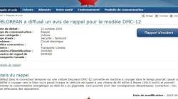 Transports Canada annonce un rappel pour la DeLorean DMC-12 (Ce n'est pas une blague. Enfin, si, mais c'est