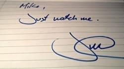 Une note manuscrite de Justin Trudeau