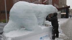Un ours polaire de glace pour sensibiliser au réchauffement climatique