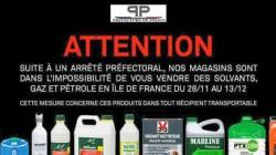 La vente de produits inflammables interdite en Île-de-France pendant la