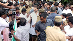 Congress Loyalist V. Narayanasamy Offers His Own Slippers To Rahul Gandhi In Flooded