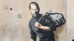 カリスマ覆面アーティストBanksyが描いた『難民スティーブ・ジョブズ』 シリア難民キャンプに出現(画像あり)