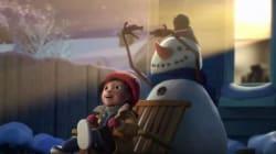 Un pupazzo di neve e una bambina vi ricordano che i veri amici vi aspettano
