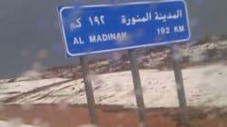 De la grêle dans le centre de l'Arabie