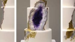 This Amethyst Geode Wedding Cake Really