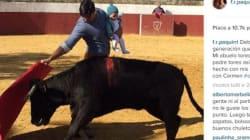 Il torero alla corrida con la piccola di cinque mesi in