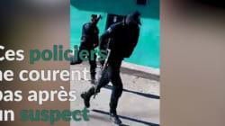 Surréaliste: des policiers fuient une scène de crime au
