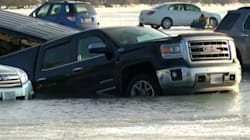 Vehicles Plunge Into Wisconsin Lake As Ice Parking Lot