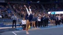 Cette gymnaste place les pas de danse du moment dans sa performance et c'est