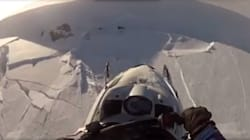 WATCH: B.C. Avalanche Sweeps Snowmobiler To Edge Of