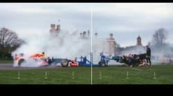 F1マシンVSラグビーチームのスクラム対決が実現