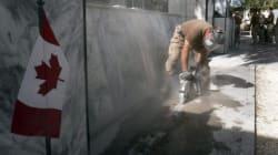 Canadian Soldiers Dismantle War Memorial In