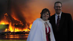 Couple Pushes Through Wedding Vows As Fire Razes Their
