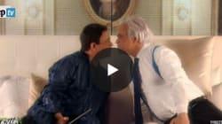 Il bacio tra Renzi e Verdini: