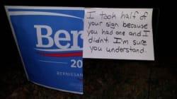 Cette pancarte vandalisée est une critique