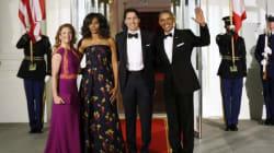 Sophie Grégoire-Trudeau en Lucian Matis, Michelle Obama en Jason Wu pour le dîner d'État