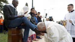 Pope Francis Washes Refugees' Feet In Catholic