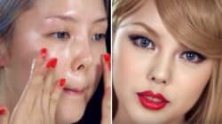 Il a suffi à cette Coréenne d'un peu de maquillage pour se transformer en Taylor