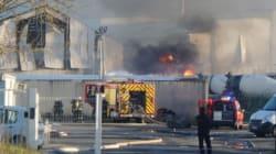 Spectaculaire incendie près de Bordeaux provoqué par l'explosion de camions