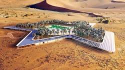 Un hôtel vert autour d'une oasis dans le