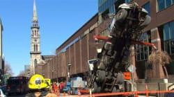 Une grue se renverse au centre-ville de Montréal : un