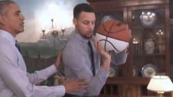 Obama dà una lezione di basket al campione Stephen