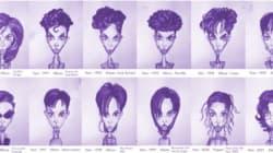 Les géniales coupes de cheveux de Prince résumées en un