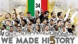 Cori e champagne: la Juventus festeggia il 5° Scudetto di fila