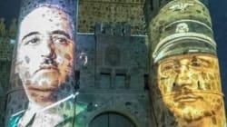 Proyectan las caras de Franco y Himmler en el castillo de Guadamur