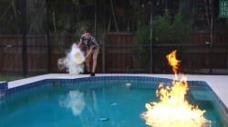 Il met le feu... à sa piscine. Et l'éteint grâce à la