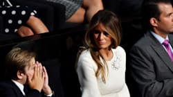 Melania Trump Gives Bored Son Stern 'Mom Look' During Dad's