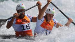 Les Français médaillés de bronze en slalom en canoë biplace à