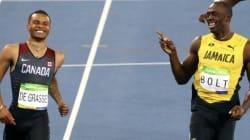 Andre De Grasse rit avec Usain Bolt jusqu'en finale du 200