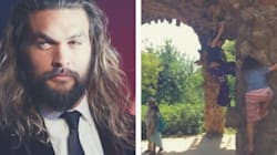 Jason Momoa Is Quickly Reminded Not To Turn His Back On His