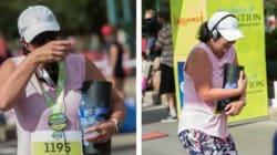 Edmonton Runner Carries Mom Across The Finish