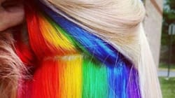 Cacher un arc-en-ciel dans ses cheveux, la nouvelle tendance
