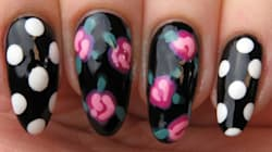 How To Create Classic Rose And Polka Dot Nail