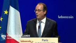 Hollande fête les 10 ans du Bon Coin en se moquant de