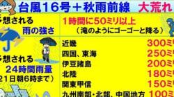 【台風16号】秋雨前線も加わり大荒れ 雨や風のピークはいつごろ?