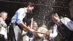 Trudeau Taps Oktoberfest Keg, Has Time Of His