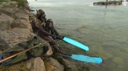 Chasser au harpon dans le fleuve
