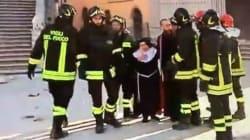 Le suore scappano dalla cattedrale di Norcia, i vigili del fuoco le