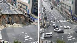 Gli operai giapponesi ricostruiscono la voragine di Fukuoka in soli 2