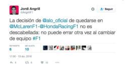 Fernando Alonso responde a este tuitero... y luego borra la
